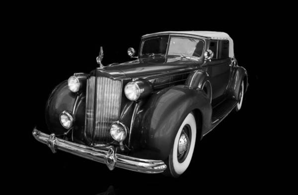 Photograph - 1938 Packard Black And White by TL Mair