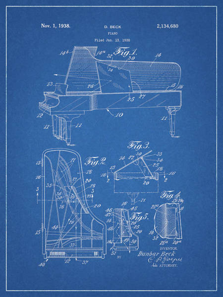 Drawing - 1938 Steinway Piano Design by Dan Sproul