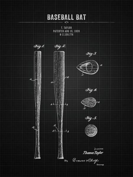 Wall Art - Digital Art - 1939 Baseball Bat - Black Blueprint by Aged Pixel