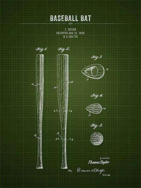 Wall Art - Digital Art - 1939 Baseball Bat - Dark Green Blueprint by Aged Pixel