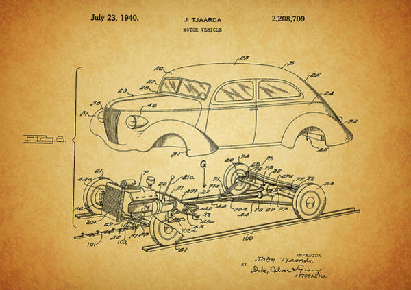 Drawing - 1940 Lincoln Zephyr Patent by Dan Sproul