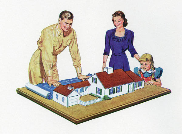 Archival Digital Art - 1940s Family And Home Model by Graphicaartis