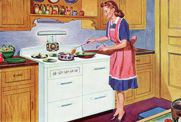 Apron Digital Art - 1940s Homemaker Cooking Dinner by Graphicaartis