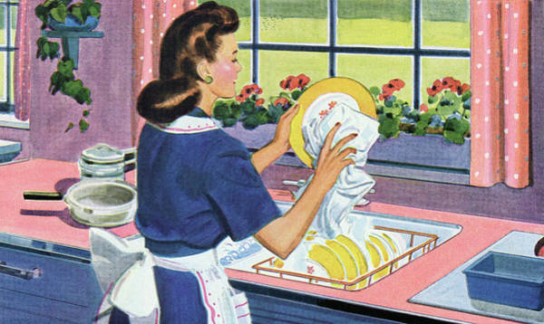 Apron Digital Art - 1940s Homemaker Washing Dishes by Graphicaartis