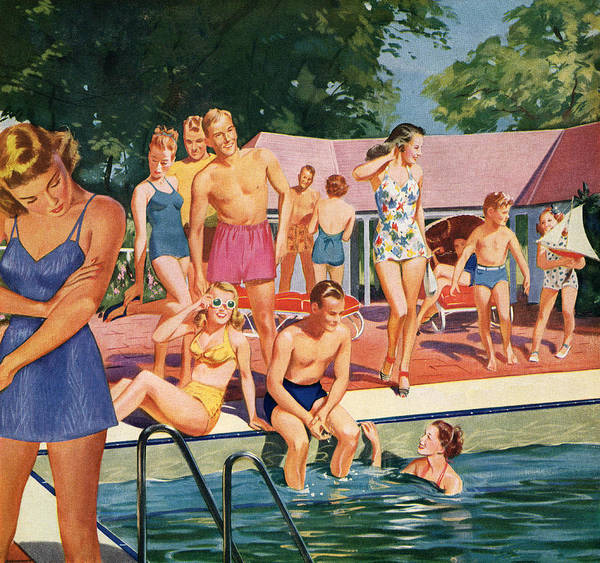 1940s Pool Party Art Print