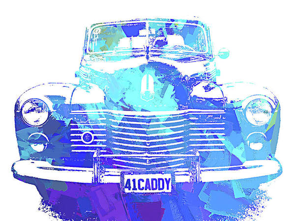 Digital Art - 1941 Cadillac Front Abs Blue by David King