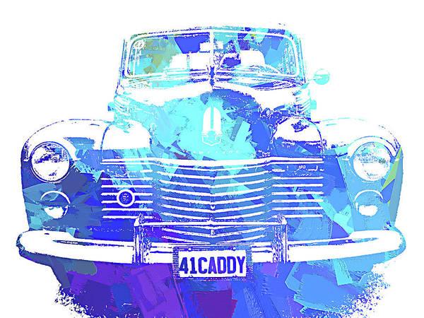 Digital Art - 1941 Cadillac Front Abs Blue by David King