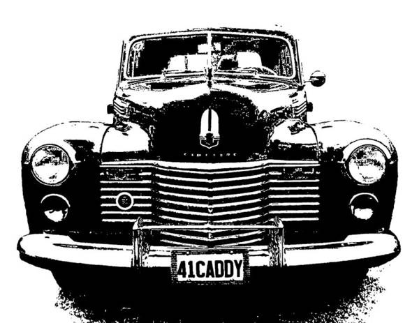 Digital Art - 1941 Cadillac Front Blk by David King
