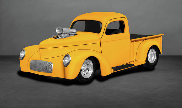 Wall Art - Photograph - 1941 Willys Pickup Truck  -  1941willyspickuphotroddblback196843 by Frank J Benz