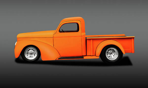 Wall Art - Photograph - 1941 Willys Pickup Truck  -  1941willyspickuphotroddblgray196868 by Frank J Benz