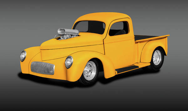 Wall Art - Photograph - 1941 Willys Pickup Truck  -  1941willystruckstreetrodgray196843 by Frank J Benz