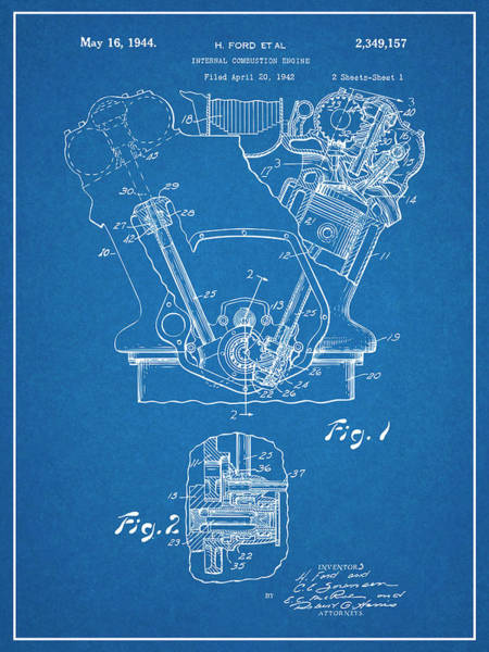 Wall Art - Drawing - 1942 Henry Ford Internal Combustion Engine Patent Print Blueprint by Greg Edwards