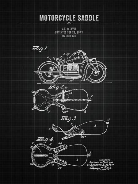 Wall Art - Digital Art - 1943 Indian Motorcycle Saddle - Black Blueprint by Aged Pixel