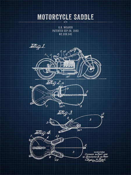 Wall Art - Digital Art - 1943 Indian Motorcycle Saddle - Dark Blueprint by Aged Pixel