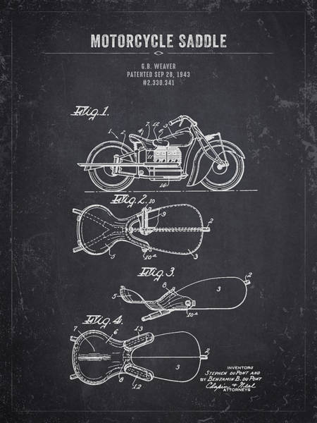 Wall Art - Digital Art - 1943 Indian Motorcycle Saddle - Dark Charcoal Grunge by Aged Pixel