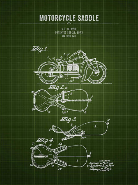 Wall Art - Digital Art - 1943 Indian Motorcycle Saddle - Dark Green Blueprint by Aged Pixel