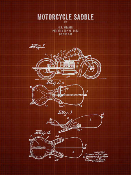 Wall Art - Digital Art - 1943 Indian Motorcycle Saddle - Dark Red Blueprint by Aged Pixel