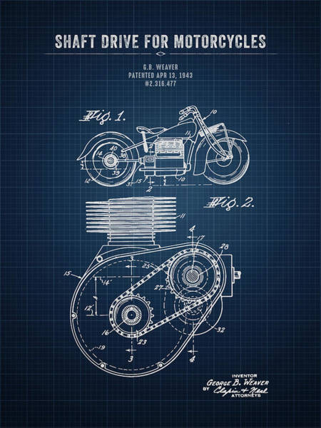 Wall Art - Digital Art - 1943 Indian Motorcycle Shaft Drive For Motorcycles - Dark Bluepr by Aged Pixel