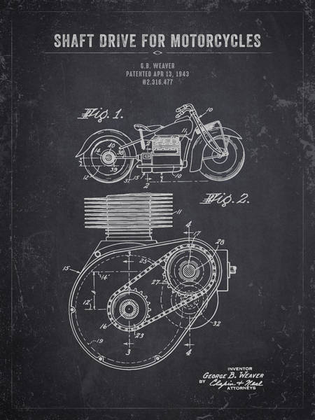 Wall Art - Digital Art - 1943 Indian Motorcycle Shaft Drive For Motorcycles - Dark Charco by Aged Pixel