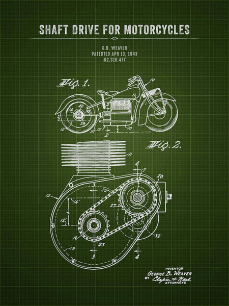 Wall Art - Digital Art - 1943 Indian Motorcycle Shaft Drive For Motorcycles - Dark Green  by Aged Pixel