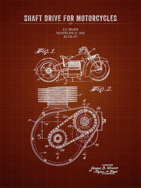 Wall Art - Digital Art - 1943 Indian Motorcycle Shaft Drive For Motorcycles - Dark Red Bl by Aged Pixel