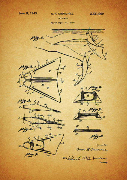 Drawing - 1943 Swim Fin Patent by Dan Sproul