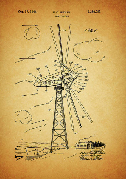 Drawing - 1944 Wind Turbine Patent Design by Dan Sproul