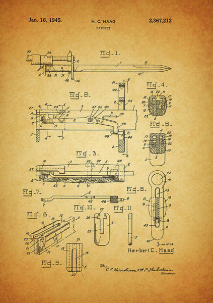Drawing - 1945 Bayonet Patent by Dan Sproul