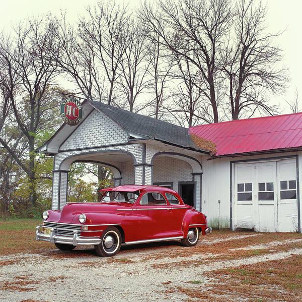Insurance Photograph - 1946 Chrysler Royal At Sinclair Gas by Car Culture