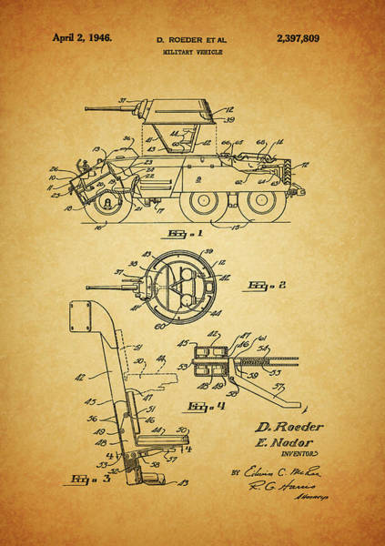 Drawing - 1946 Military Tank Patent by Dan Sproul