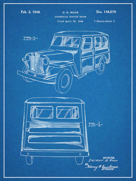 Wall Art - Drawing - 1946 Willys Jeep Station Wagon Blueprint Patent Print by Greg Edwards
