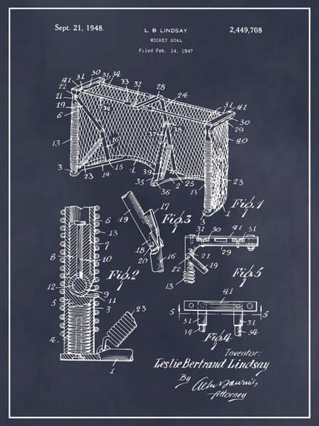 Wall Art - Drawing - 1947 Hockey Goal Patent Print Blackboard by Greg Edwards