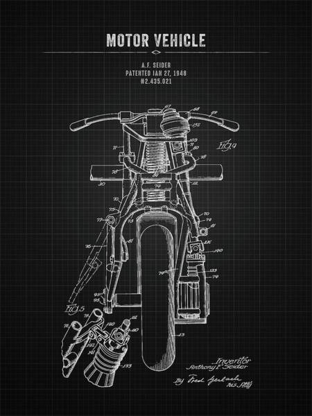 Wall Art - Digital Art - 1948 Indian Motor Vehicle - Black Blueprint by Aged Pixel
