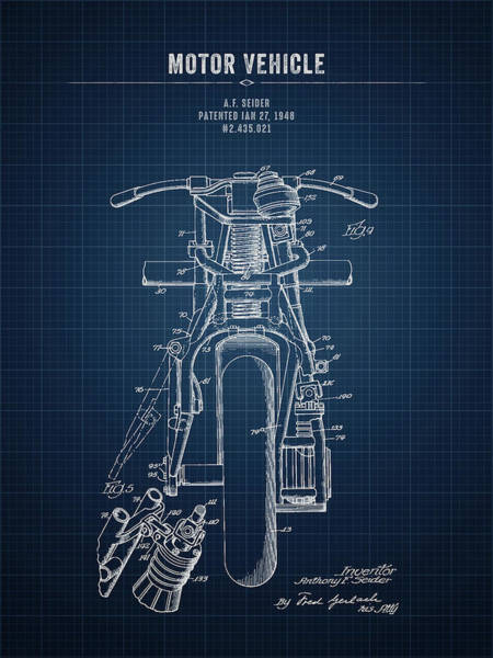 Wall Art - Digital Art - 1948 Indian Motor Vehicle - Dark Blueprint by Aged Pixel