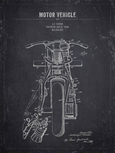 Wall Art - Digital Art - 1948 Indian Motor Vehicle - Dark Charcoal Grunge by Aged Pixel