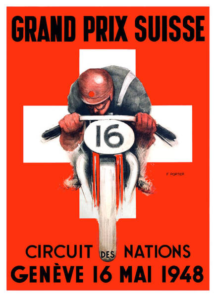 Wall Art - Digital Art - 1948 Switzerland Motorcycle Grand Prix Des Nations Advertising Poster by Retro Graphics