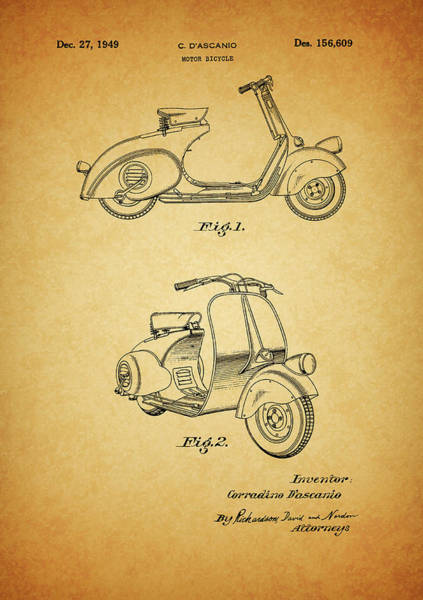 Drawing - 1949 Vespa Patent by Dan Sproul