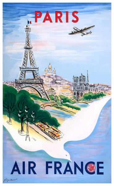 Wall Art - Digital Art - 1950 Air France Paris Travel Poster by Retro Graphics