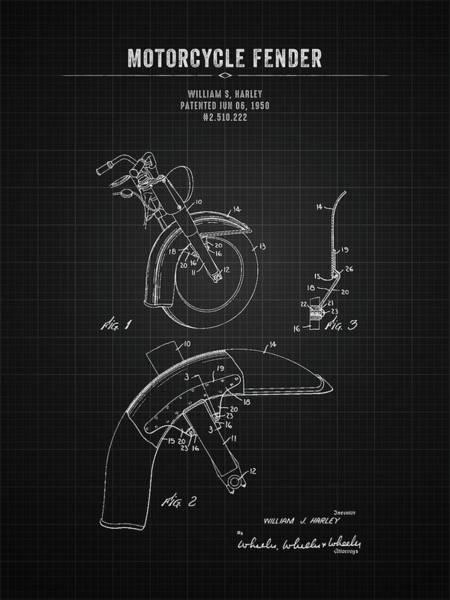 Wall Art - Digital Art - 1950 Harley Davidson Motorcycle Fender - Black Blueprint by Aged Pixel