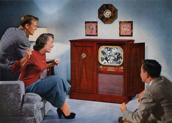 1950s Family Watching Football Art Print