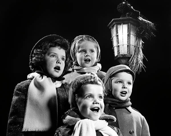 Carol Singing Photograph - 1950s Four Young Children Singing by Panoramic Images