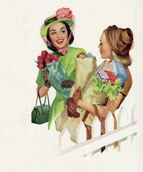 Archival Digital Art - 1950s Neighbors Chatting by Graphicaartis