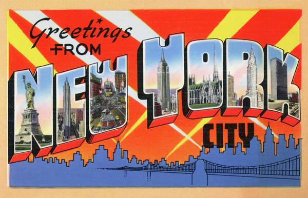 Horizontal Digital Art - 1950s Nyc Tourist Postcard by Graphicaartis