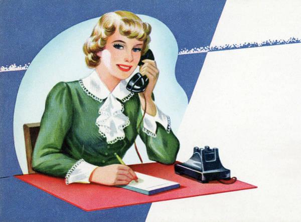 Secretary Digital Art - 1950s Receptionist On Phone by Graphicaartis