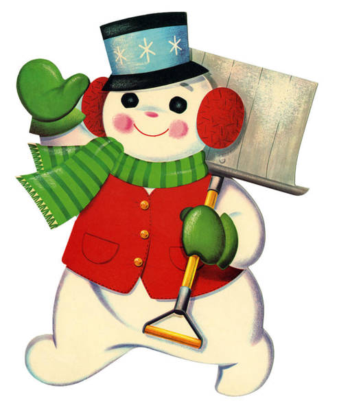 Top Hat Photograph - 1950s Snowman by Graphicaartis