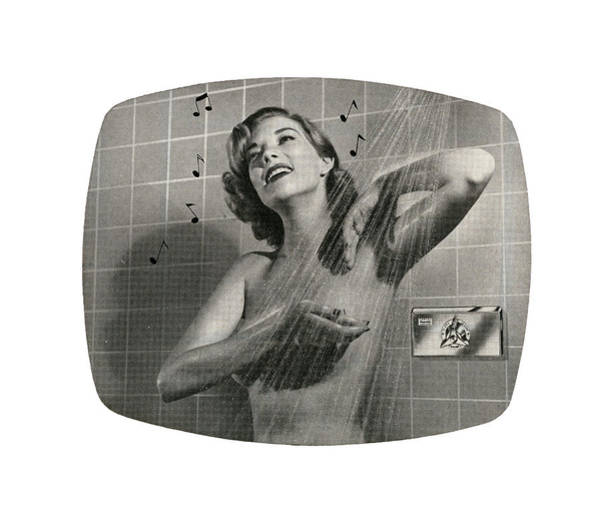 1950s Woman Singing In Shower Art Print