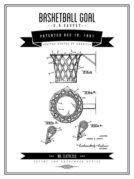 Wall Art - Digital Art - 1951 Basketball Goal - Black Retro Style by Aged Pixel