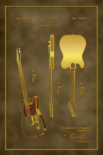 Digital Art - 1951 Fender Guitar Patent Drawing by Carlos Diaz
