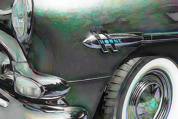 1952 Hudson Hornet Photograph - 1952 Hudson Hornet Logo And Emblem Digital Sketch Photography by Nick Gray