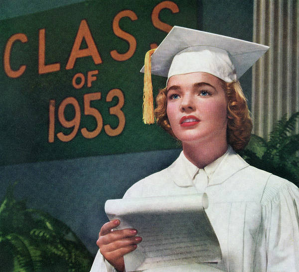 Archival Digital Art - 1953 High School Valedictorian by Graphicaartis